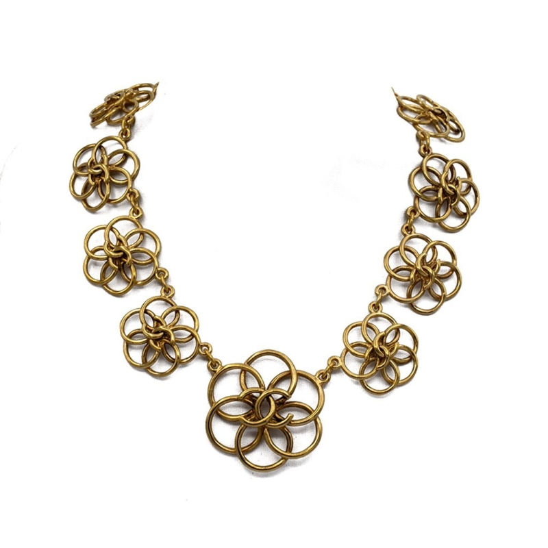 """Chanel 14 1/2"""" Gilt Graduating Wire Work Camellia Necklace, 1990"""