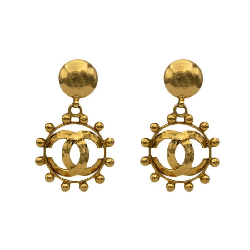 """Chanel 2 3/4"""" Gilt Hammered Logo & Beaded Border Hoop Earrings, 1988"""