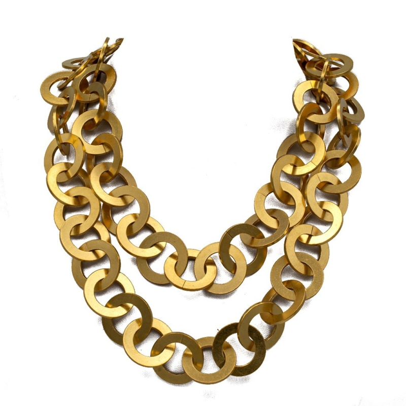 """Chanel 38"""" Gilt Flattened Link Chain Necklace, Spring 1993"""