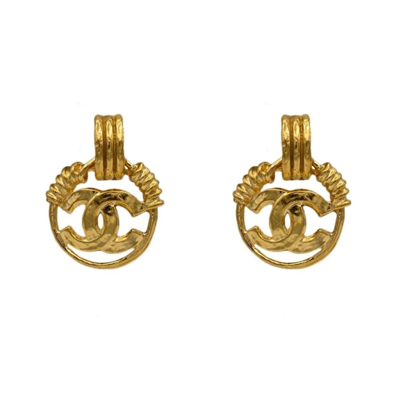 Chanel Gilt, Wire Wrapped Doorknocker with Logo Hoop Earrings, Spring 1994
