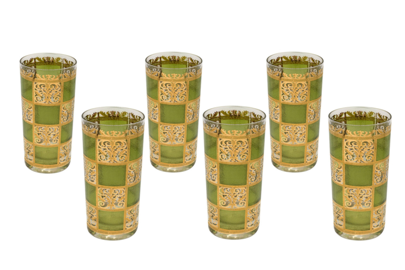 Culver Green & 22k Gold Prado Highballs, set of 6